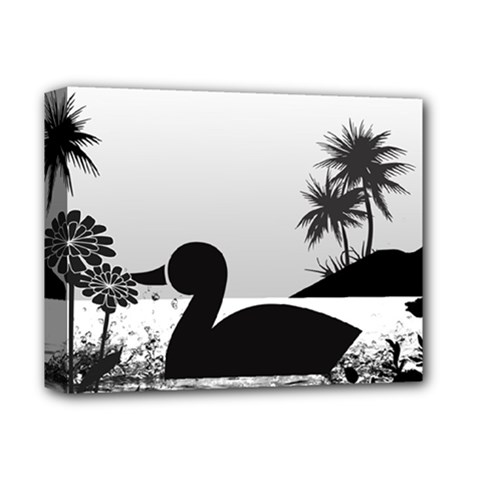 Duck Sihouette Romance Black & White Deluxe Canvas 14  x 11