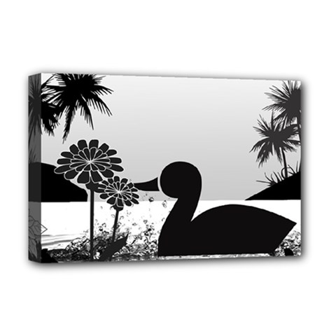 Duck Sihouette Romance Black & White Deluxe Canvas 18  x 12