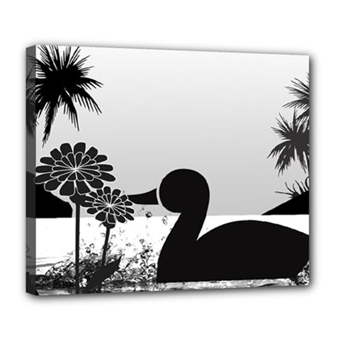 Duck Sihouette Romance Black & White Deluxe Canvas 24  X 20