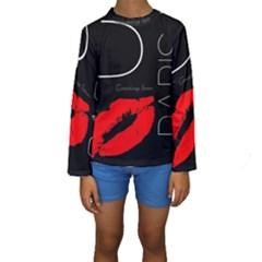Greetings From Paris 1500 1500 Red Lipstick Kiss Black Postcard Design Kid s Long Sleeve Swimwear