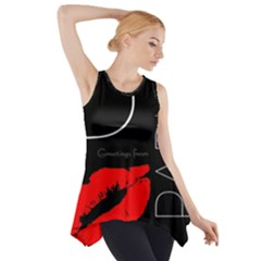 Greetings From Paris 1500 1500 Red Lipstick Kiss Black Postcard Design Side Drop Tank Tunic