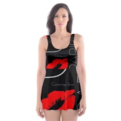 Greetings From Paris 1500 1500 Red Lipstick Kiss Black Postcard Design Skater Dress Swimsuit