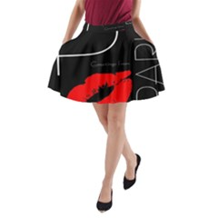 Greetings From Paris 1500 1500 Red Lipstick Kiss Black Postcard Design A-Line Pocket Skirt