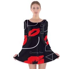 Greetings From Paris 1500 1500 Red Lipstick Kiss Black Postcard Design Long Sleeve Velvet Skater Dress