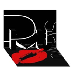 Greetings From Paris Red Lipstick Kiss Black Postcard I Love You 3D Greeting Card (7x5)