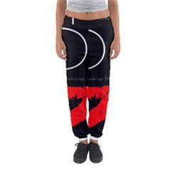 Greetings From Paris Red Lipstick Kiss Black Postcard Women s Jogger Sweatpants