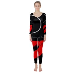 Greetings From Paris Red Lipstick Kiss Black Postcard Long Sleeve Catsuit