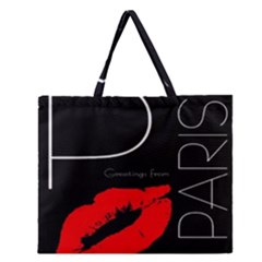 Greetings From Paris Red Lipstick Kiss Black Postcard Zipper Large Tote Bag