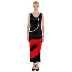 Greetings From Paris Red Lipstick Kiss Black Postcard Fitted Maxi Dress