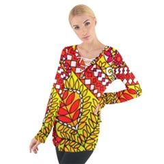 Throwback 60s Montage Pattern Women s Tie Up Tee