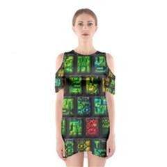 Colorful buttons               Women s Cutout Shoulder Dress