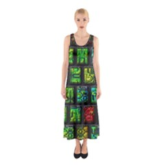 Colorful Buttons               Full Print Maxi Dress
