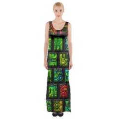 Colorful buttons               Maxi Thigh Split Dress