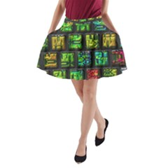 Colorful buttons               A-Line Pocket Skirt