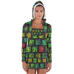 Colorful buttons               Women s Long Sleeve Hooded T-shirt