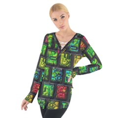 Colorful buttons                Women s Tie Up Tee