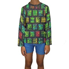 Colorful Buttons                Kid s Long Sleeve Swimwear