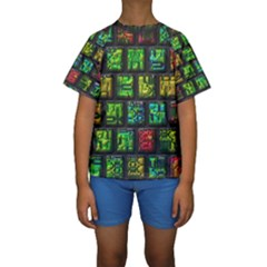 Colorful buttons                Kid s Short Sleeve Swimwear