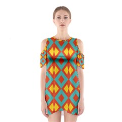 Blue Rhombus Pattern                Women s Cutout Shoulder Dress