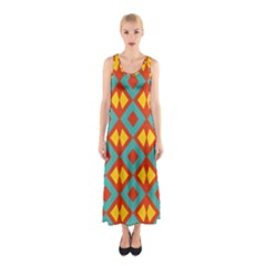 Blue rhombus pattern                Full Print Maxi Dress