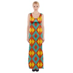 Blue rhombus pattern                Maxi Thigh Split Dress