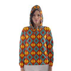 Blue Rhombus Pattern                Hooded Wind Breaker (women)
