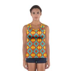 Blue rhombus pattern                Women s Sport Tank Top