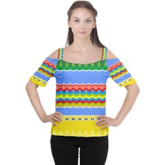 Colorful chevrons and waves                 Women s Cutout Shoulder Tee