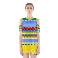 Colorful chevrons and waves                 Women s Cutout Shoulder Dress