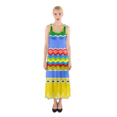 Colorful chevrons and waves                 Full Print Maxi Dress