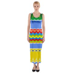 Colorful chevrons and waves                 Fitted Maxi Dress