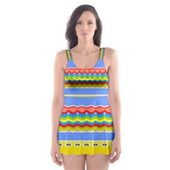 Colorful chevrons and waves                 Skater Dress Swimsuit