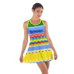 Colorful chevrons and waves                 Cotton Racerback Dress