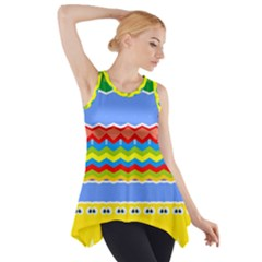 Colorful chevrons and waves                 Side Drop Tank Tunic