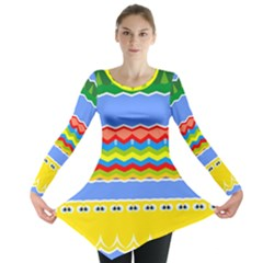 Colorful Chevrons And Waves                 Long Sleeve Tunic