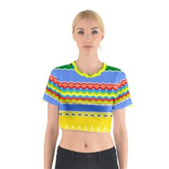 Colorful chevrons and waves                 Cotton Crop Top