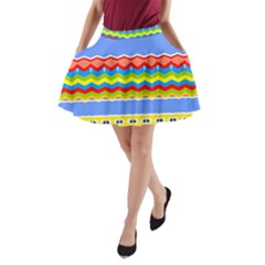 Colorful Chevrons And Waves                 A Line Pocket Skirt