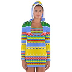 Colorful Chevrons And Waves                 Women s Long Sleeve Hooded T Shirt
