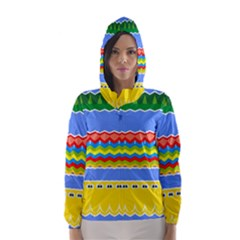 Colorful Chevrons And Waves                 Hooded Wind Breaker (women)