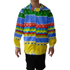 Colorful Chevrons And Waves                 Hooded Wind Breaker (kids)