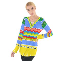Colorful chevrons and waves                  Women s Tie Up Tee