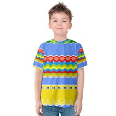 Colorful chevrons and waves                 Kid s Cotton Tee