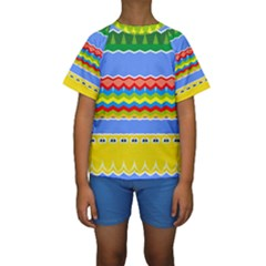 Colorful chevrons and waves                  Kid s Short Sleeve Swimwear