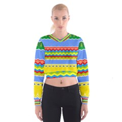 Colorful chevrons and waves                   Women s Cropped Sweatshirt