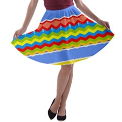 Colorful Chevrons And Waves                 A Line Skater Skirt