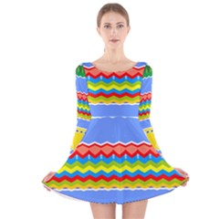 Colorful Chevrons And Waves                 Long Sleeve Velvet Skater Dress