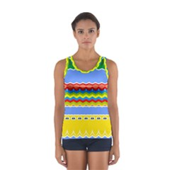 Colorful chevrons and waves                 Women s Sport Tank Top