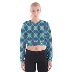 Blue stars pattern                    Women s Cropped Sweatshirt