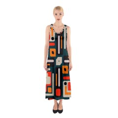 Shapes in retro colors texture                   Full Print Maxi Dress