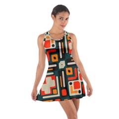 Shapes in retro colors texture                   Cotton Racerback Dress